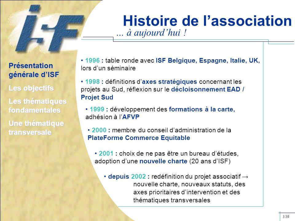 … à aujourdhui ! 1996 : table ronde avec ISF Belgique, Espagne, Italie, UK, lors dun séminaire 1998 : définitions daxes stratégiques concernant les pr