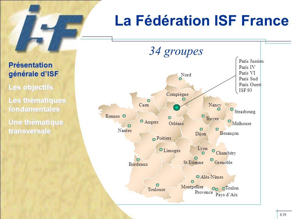 La Fédération ISF France Caen Nord Orléans Nancy Troyes Mulhouse Besançon Dijon St Etienne Lyon Grenoble Alès-Nîmes Provence Montpellier Toulouse Bord