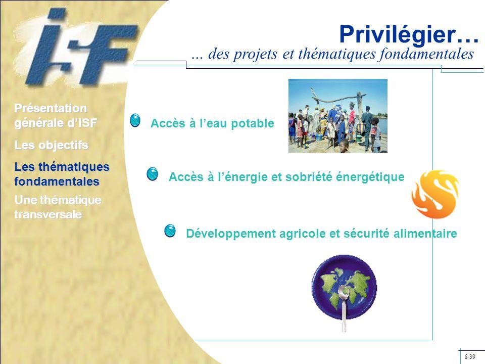 Privilégier… … des projets et thématiques fondamentales Accès à lénergie et sobriété énergétique Présentation générale dISF Les objectifs Les thématiq