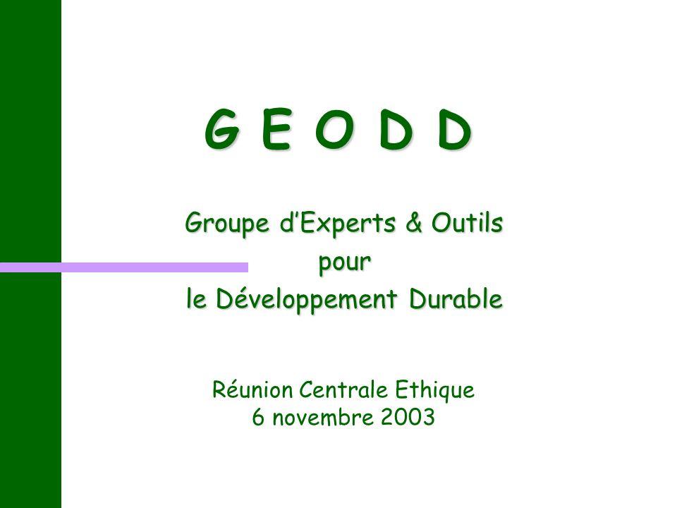 G E O D D Groupe dExperts & Outils pour le Développement Durable Réunion Centrale Ethique 6 novembre 2003