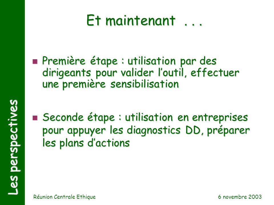 6 novembre 2003 Réunion Centrale Ethique Les perspectives Et maintenant... n Première étape : utilisation par des dirigeants pour valider loutil, effe