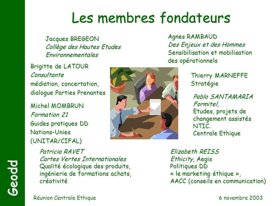 6 novembre 2003 Réunion Centrale Ethique Jacques BREGEON Collège des Hautes Etudes Environnementales Agnes RAMBAUD Des Enjeux et des Hommes Sensibilis