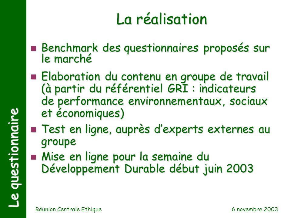 6 novembre 2003 Réunion Centrale Ethique Le questionnaire n Benchmark des questionnaires proposés sur le marché La réalisation n Elaboration du conten