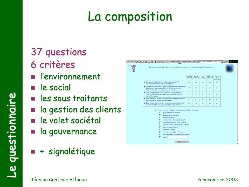6 novembre 2003 Réunion Centrale Ethique Le questionnaire 37 questions 6 critères n lenvironnement n le social n les sous traitants n la gestion des c