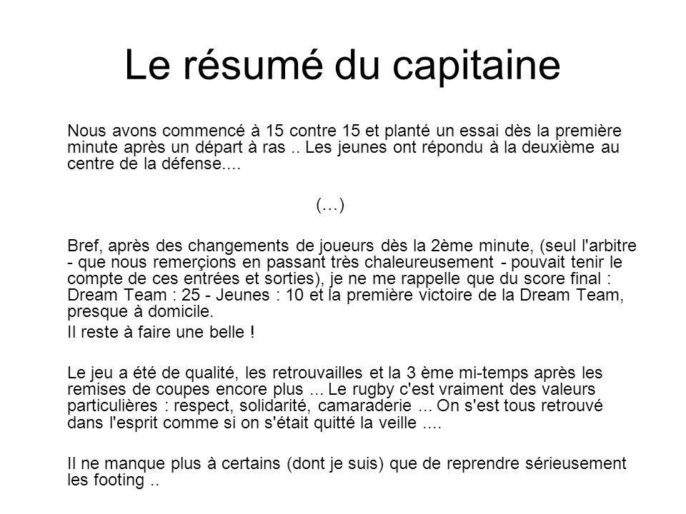 Le résumé du capitaine Nous avons commencé à 15 contre 15 et planté un essai dès la première minute après un départ à ras.. Les jeunes ont répondu à l