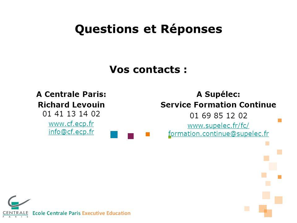 Questions et Réponses Vos contacts : A Centrale Paris: Richard Levouin 01 41 13 14 02 www.cf.ecp.fr info@cf.ecp.fr A Supélec: Service Formation Continue 01 69 85 12 02 www.supelec.fr/fc/ formation.continue@supelec.fr