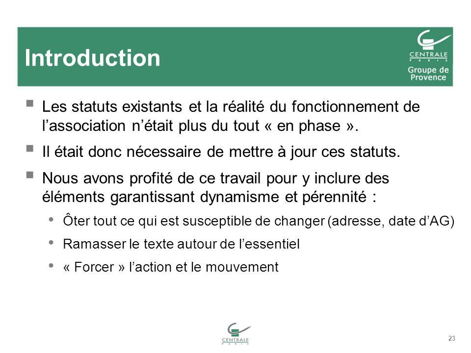 23 Introduction Les statuts existants et la réalité du fonctionnement de lassociation nétait plus du tout « en phase ».