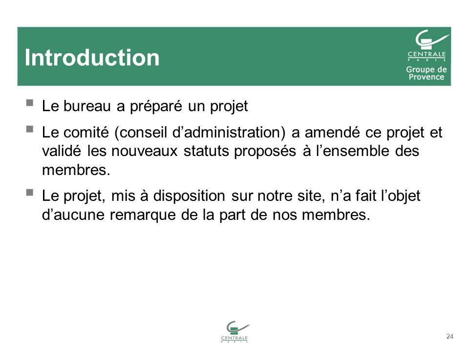 24 Introduction Le bureau a préparé un projet Le comité (conseil dadministration) a amendé ce projet et validé les nouveaux statuts proposés à lensemble des membres.