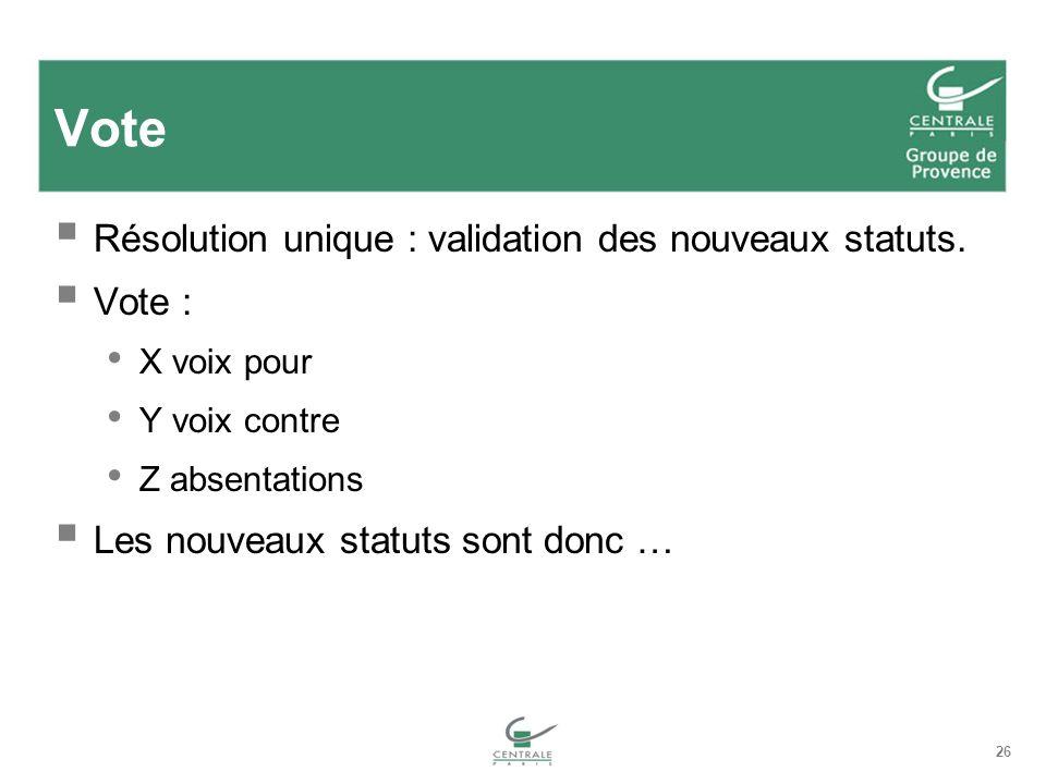 26 Vote Résolution unique : validation des nouveaux statuts.