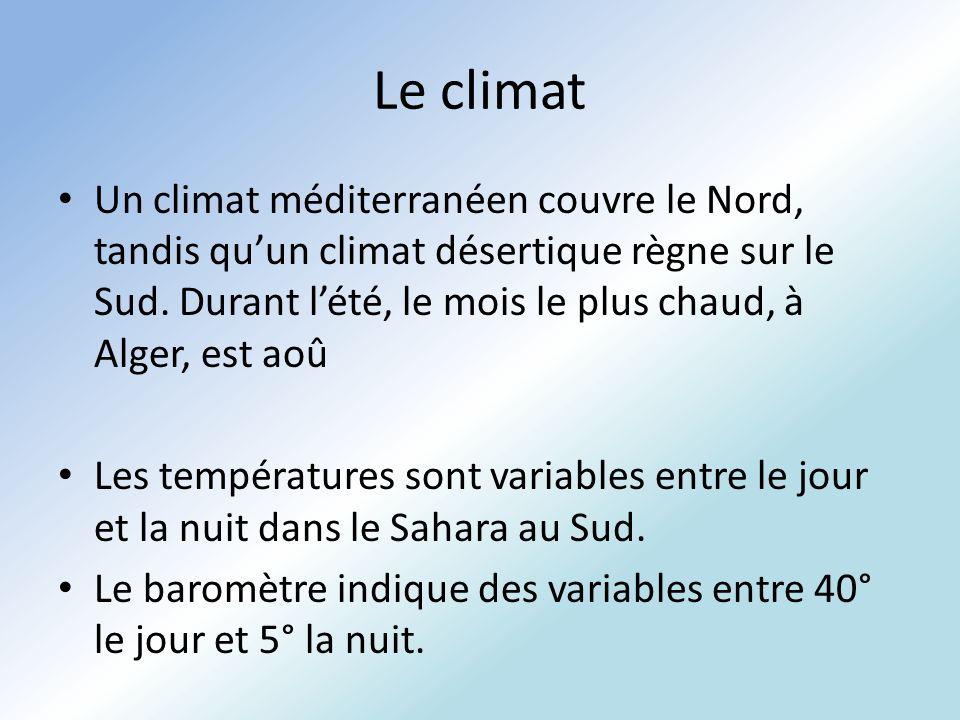Le climat Un climat méditerranéen couvre le Nord, tandis quun climat désertique règne sur le Sud. Durant lété, le mois le plus chaud, à Alger, est aoû