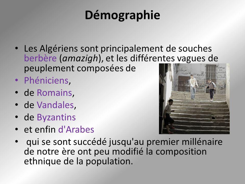 Démographie Les Algériens sont principalement de souches berbère (amazigh), et les différentes vagues de peuplement composées de Phéniciens, de Romain