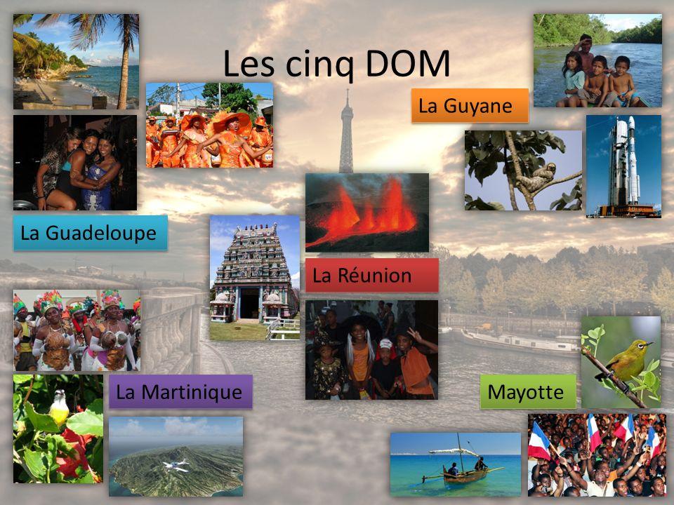 Les cinq DOM La Guadeloupe La Guyane La Martinique Mayotte La Réunion