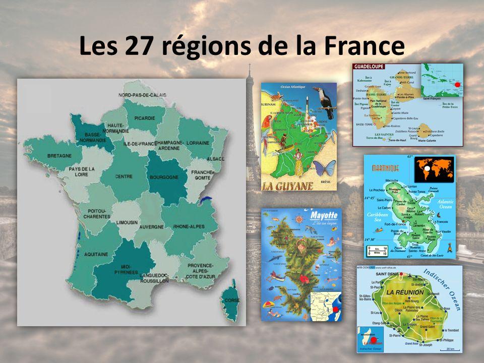 Les 27 régions de la France