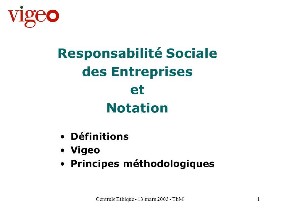 Centrale Ethique - 13 mars 2003 - ThM2 Champ dintervention de Vigeo La Responsabilité Sociale des Entreprises Prise en compte des dimensions sociales environnementales sociétales Pour une création de valeur durable de l entreprise