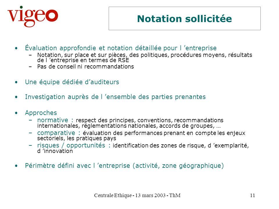 Centrale Ethique - 13 mars 2003 - ThM11 Notation sollicitée Évaluation approfondie et notation détaillée pour l entreprise –Notation, sur place et sur