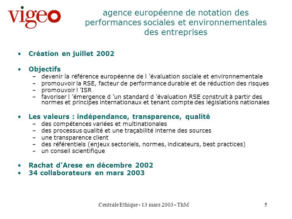 Centrale Ethique - 13 mars 2003 - ThM5 Création en juillet 2002 Objectifs –devenir la référence européenne de l évaluation sociale et environnementale