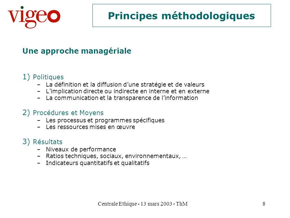 Centrale Ethique - 13 mars 2003 - ThM8 Principes méthodologiques 1) Politiques –La définition et la diffusion dune stratégie et de valeurs –Limplicati