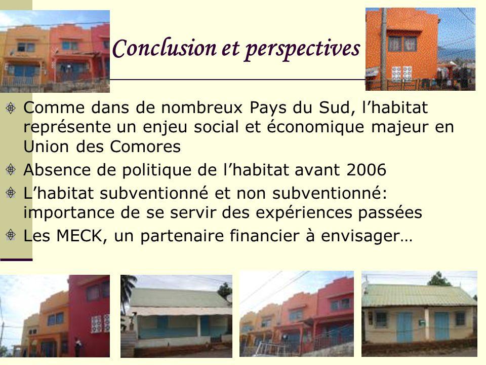 Conclusion et perspectives Comme dans de nombreux Pays du Sud, lhabitat représente un enjeu social et économique majeur en Union des Comores Absence d