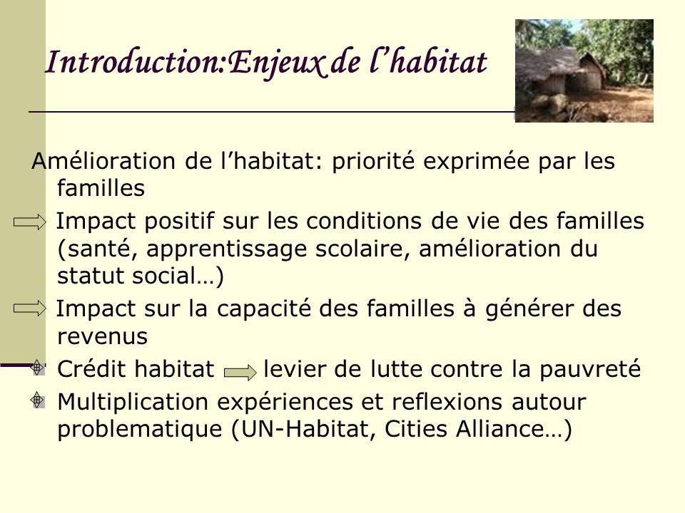 Introduction:Enjeux de lhabitat Amélioration de lhabitat: priorité exprimée par les familles Impact positif sur les conditions de vie des familles (sa