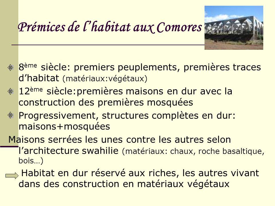 Prémices de lhabitat aux Comores 8 ème siècle: premiers peuplements, premières traces dhabitat (matériaux:végétaux) 12 ème siècle:premières maisons en