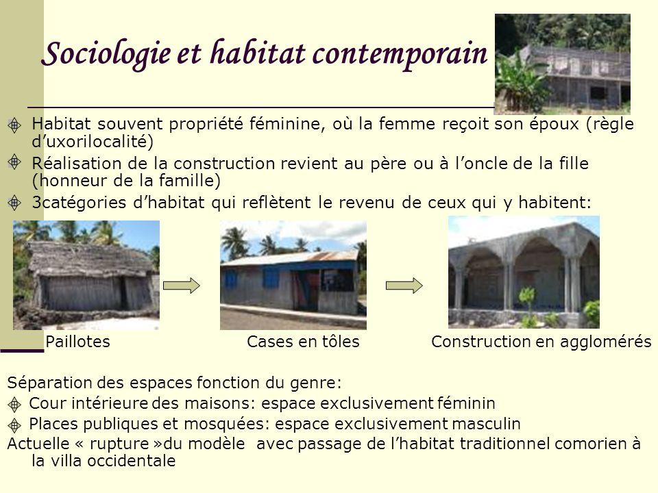 Sociologie et habitat contemporain Habitat souvent propriété féminine, où la femme reçoit son époux (règle duxorilocalité) Réalisation de la construct