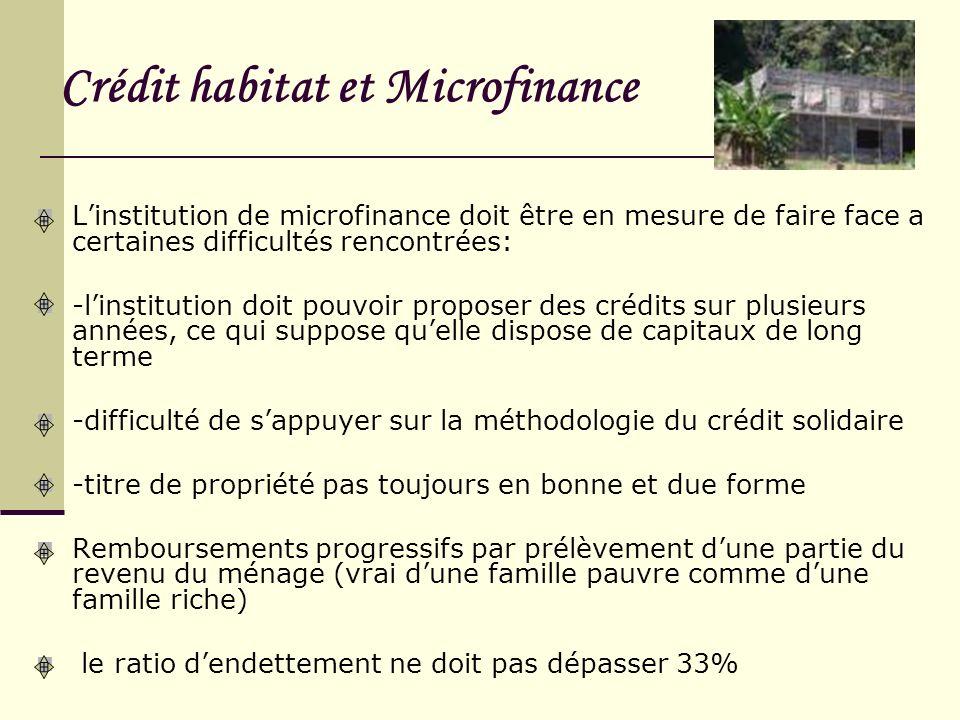 Crédit habitat et Microfinance Linstitution de microfinance doit être en mesure de faire face a certaines difficultés rencontrées: -linstitution doit