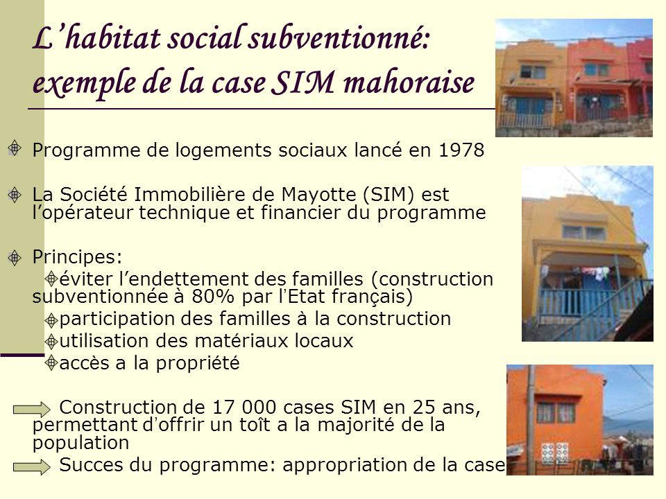 Lhabitat social subventionné: exemple de la case SIM mahoraise Programme de logements sociaux lancé en 1978 La Société Immobilière de Mayotte (SIM) es