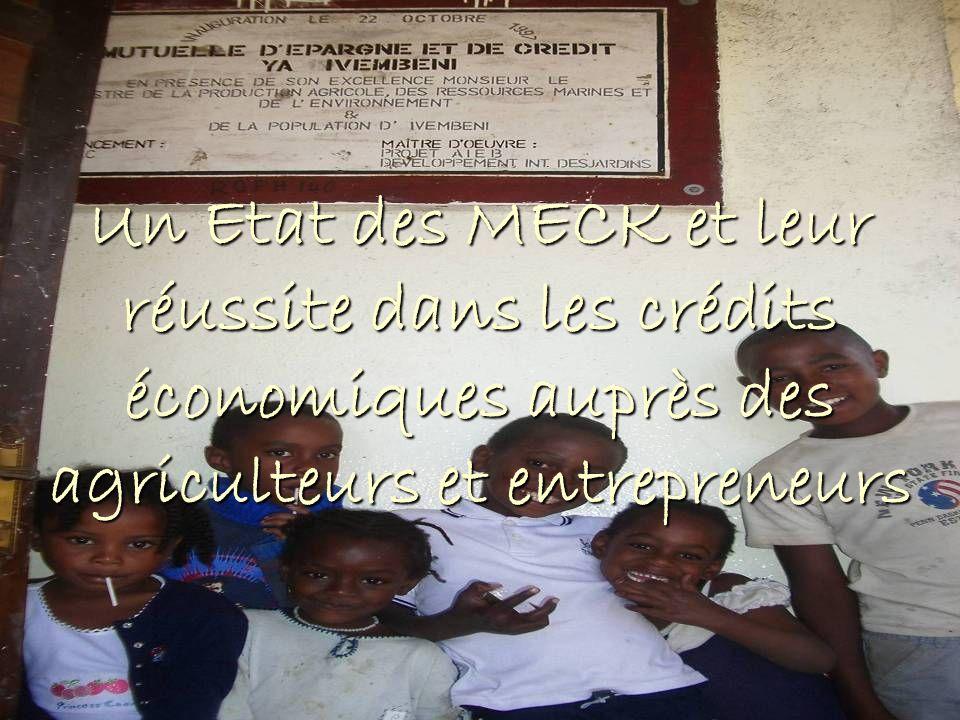 Multiples actions de la coopération internationale Multiples actions de la coopération internationale Cadre macro économique des Comores le 132ème pays sur 177 au niveau de lindice de développement humain le 132ème pays sur 177 au niveau de lindice de développement humain un taux dalphabétisation de 56,2% un taux dalphabétisation de 56,2% 50% de la population en dessous du seuil de pauvreté 50% de la population en dessous du seuil de pauvreté 1997Le Réseau des Meck, dans le cadre dun projet de développement rural du FIDA (Fonds International pour le Développement Agricole) 1997 Le Réseau des Meck, dans le cadre dun projet de développement rural du FIDA (Fonds International pour le Développement Agricole) 25 ans de coups dEtat… 25 ans de coups dEtat… 2001, éligibilité à linitiative PPTE (Pays Pauvres Très Endettés) 2001, éligibilité à linitiative PPTE (Pays Pauvres Très Endettés) 2003 Document de stratégie de réduction de la pauvreté (DSRP) 2003 Document de stratégie de réduction de la pauvreté (DSRP)