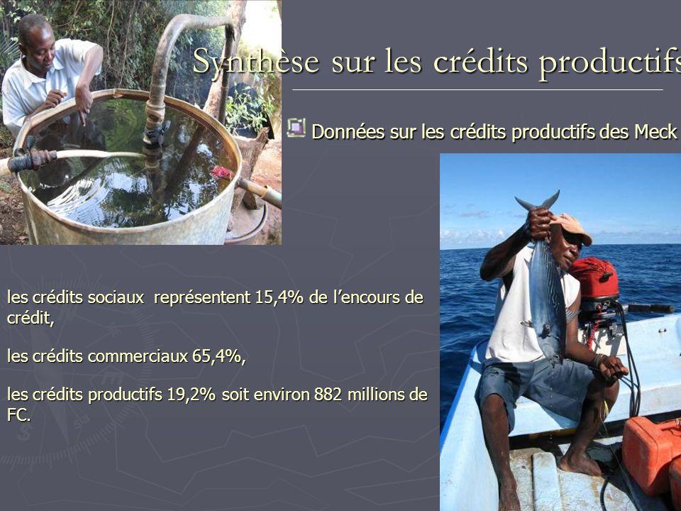 Synthèse sur les crédits productifs Données sur les crédits productifs des Meck les crédits sociaux représentent 15,4% de lencours de crédit, les créd