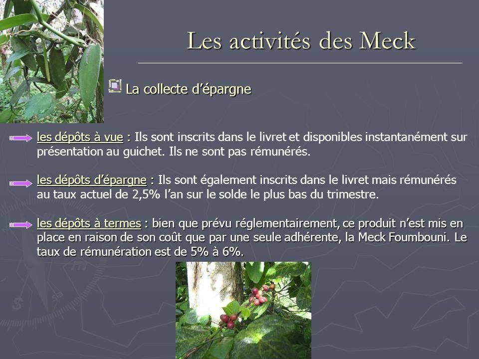 Les activités des Meck La collecte dépargne les dépôts à vue : les dépôts à vue : Ils sont inscrits dans le livret et disponibles instantanément sur p