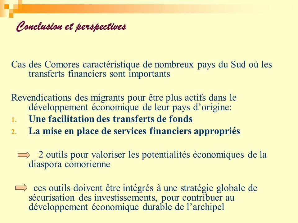 Conclusion et perspectives Cas des Comores caractéristique de nombreux pays du Sud où les transferts financiers sont importants Revendications des mig