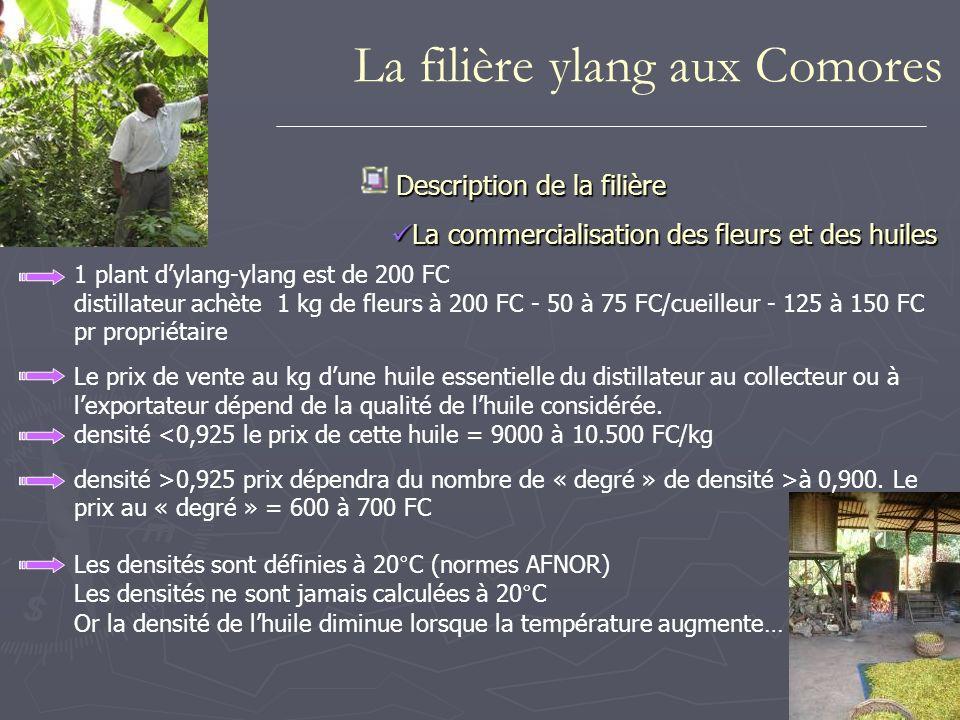 1 plant dylang-ylang est de 200 FC distillateur achète 1 kg de fleurs à 200 FC - 50 à 75 FC/cueilleur - 125 à 150 FC pr propriétaire Le prix de vente