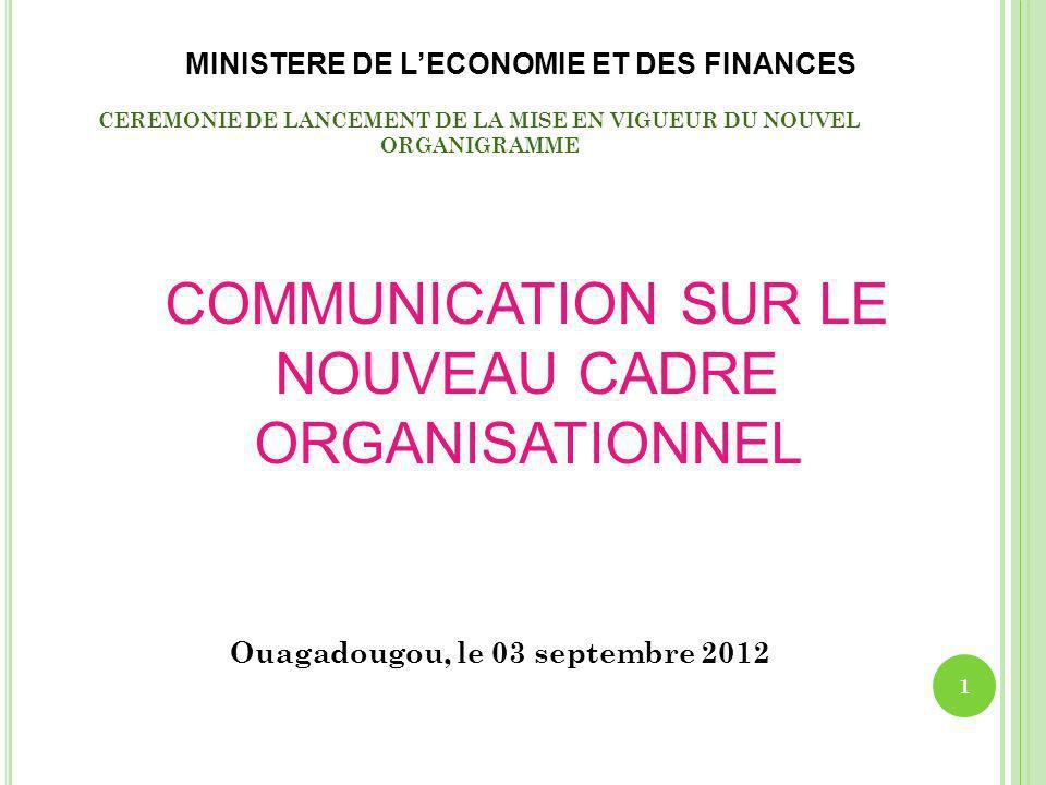 II- LE NOUVEAU CADRE ORGANISATIONNEL Lorganigramme la création de nouvelles structures N°Structures nouvelles Justification 5Secrétariat permanent pour la promotion de la micro finance (SP/PMF) Promotion et développement des Systèmes financiers décentralisés au Burkina Faso.