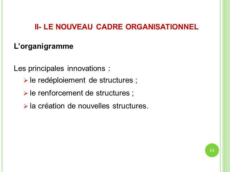 II- LE NOUVEAU CADRE ORGANISATIONNEL Lorganigramme Les principales innovations : le redéploiement de structures ; le renforcement de structures ; la c