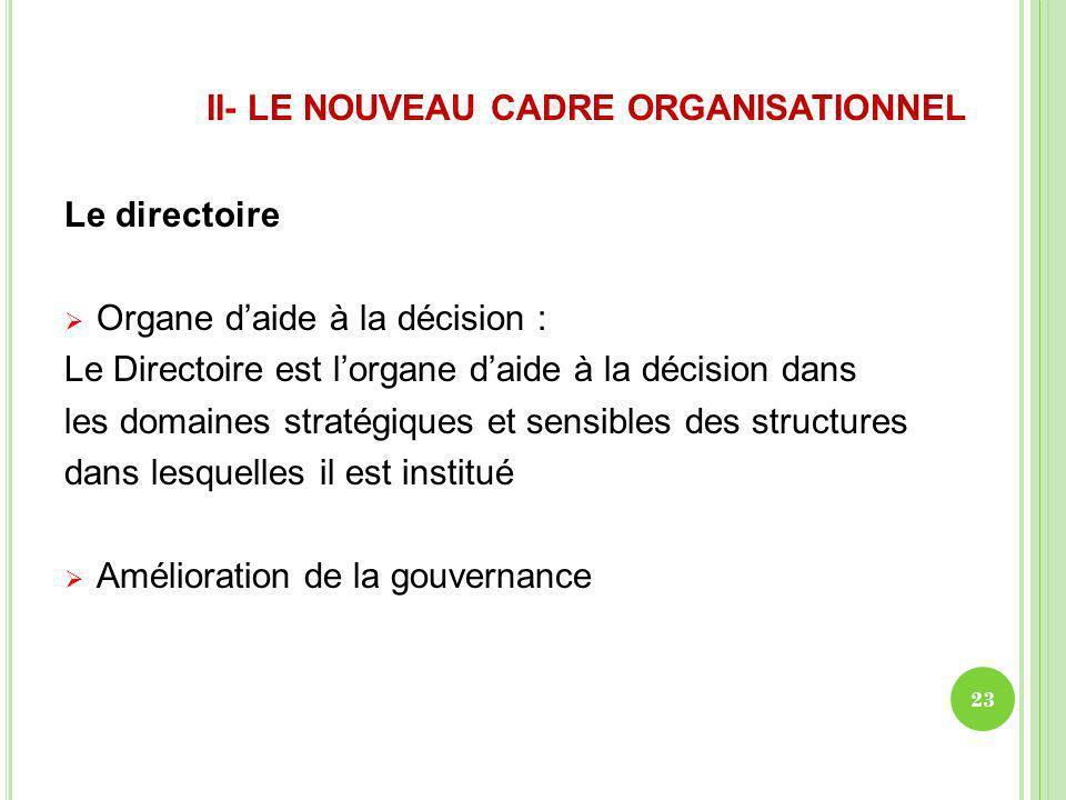 II- LE NOUVEAU CADRE ORGANISATIONNEL Le directoire Organe daide à la décision : Le Directoire est lorgane daide à la décision dans les domaines straté