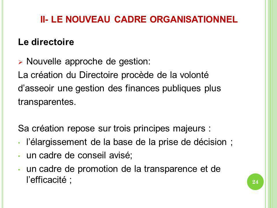 II- LE NOUVEAU CADRE ORGANISATIONNEL Le directoire Nouvelle approche de gestion: La création du Directoire procède de la volonté dasseoir une gestion