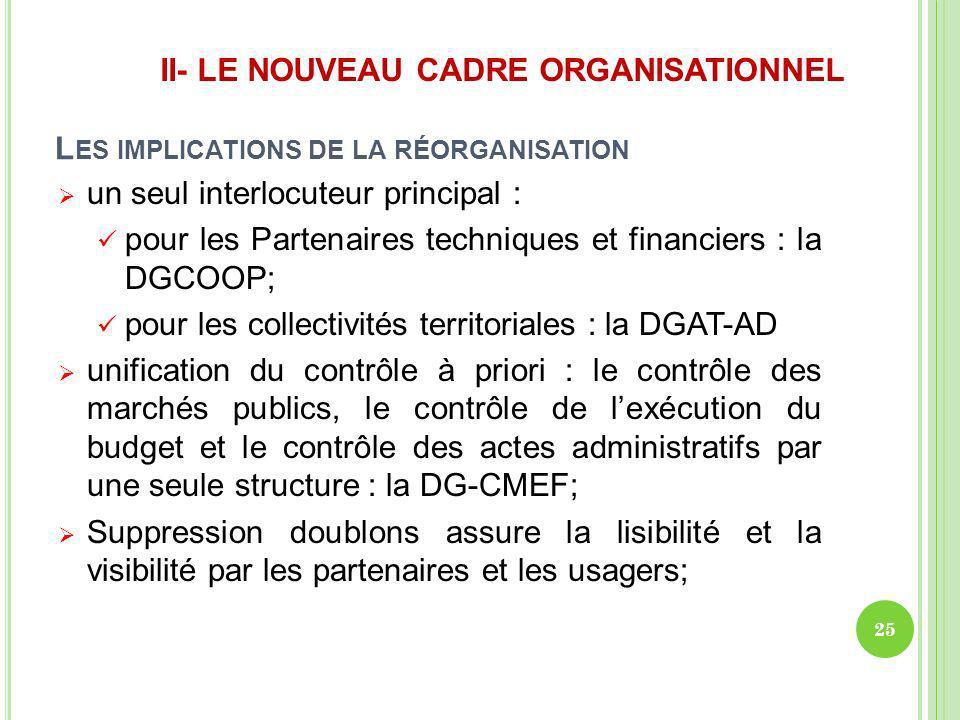 L ES IMPLICATIONS DE LA RÉORGANISATION un seul interlocuteur principal : pour les Partenaires techniques et financiers : la DGCOOP; pour les collectiv