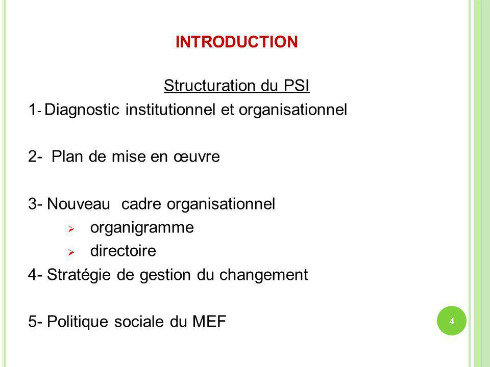 INTRODUCTION Structuration du PSI 1 - Diagnostic institutionnel et organisationnel 2- Plan de mise en œuvre 3- Nouveau cadre organisationnel organigra