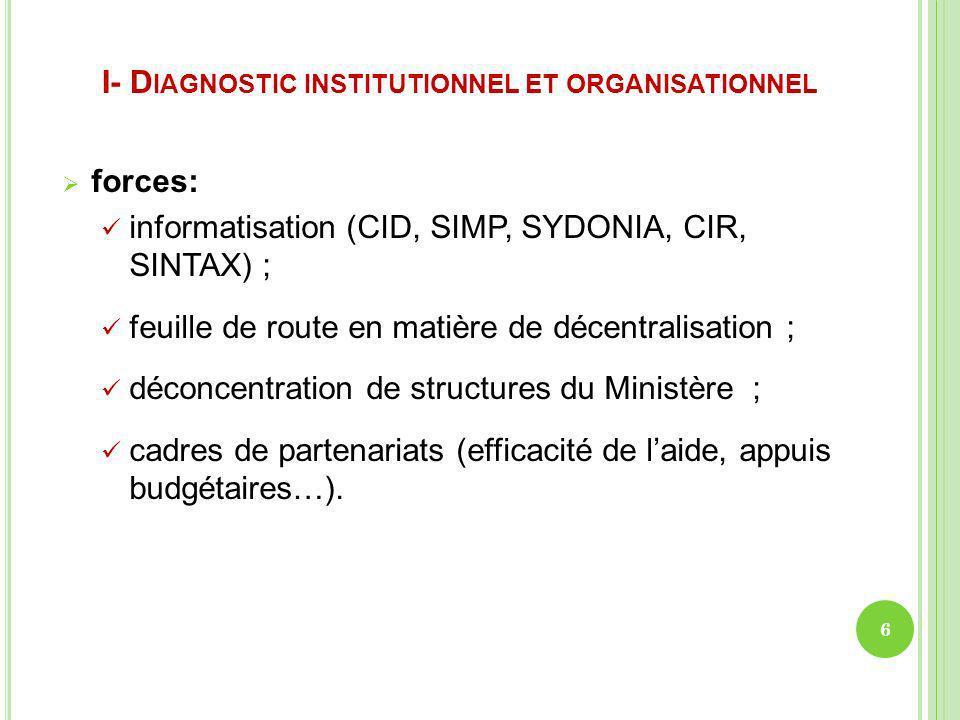 I- D IAGNOSTIC INSTITUTIONNEL ET ORGANISATIONNEL forces: informatisation (CID, SIMP, SYDONIA, CIR, SINTAX) ; feuille de route en matière de décentrali