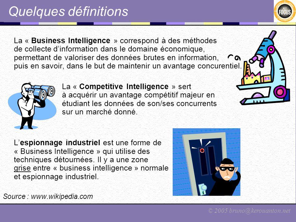 © 2005 bruno@kerouanton.net Quelques définitions La « Business Intelligence » correspond à des méthodes de collecte dinformation dans le domaine écono