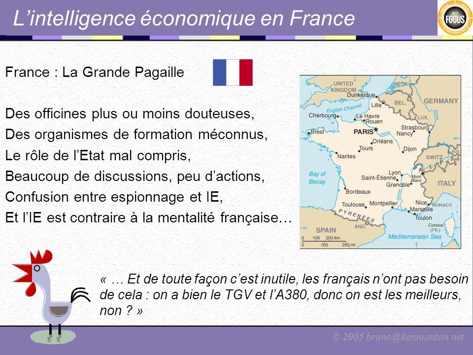 © 2005 bruno@kerouanton.net Lintelligence économique en France France : La Grande Pagaille Des officines plus ou moins douteuses, Des organismes de fo