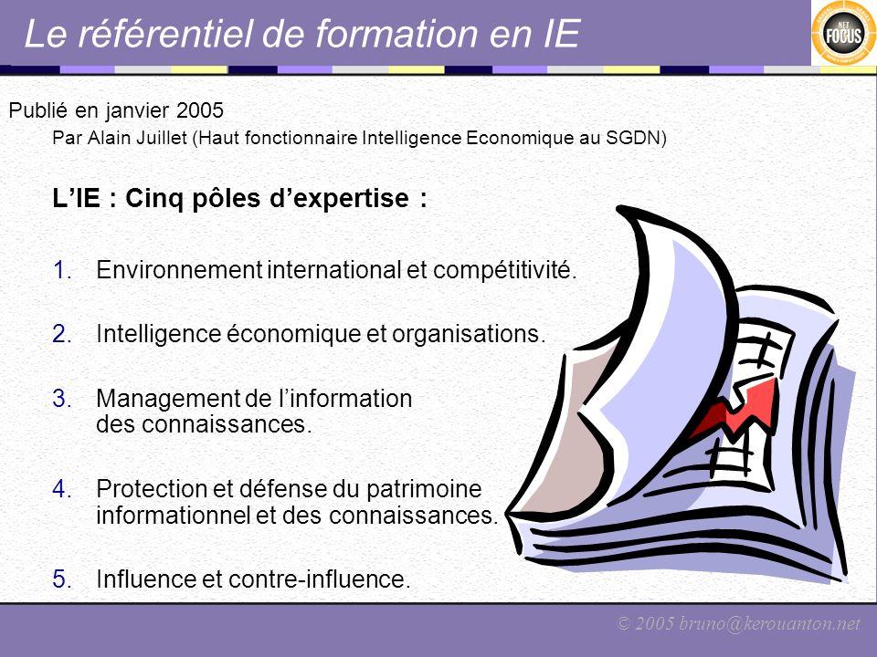 © 2005 bruno@kerouanton.net Le référentiel de formation en IE Publié en janvier 2005 Par Alain Juillet (Haut fonctionnaire Intelligence Economique au