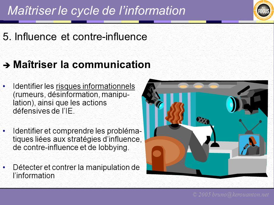 © 2005 bruno@kerouanton.net Maîtriser le cycle de linformation 5. Influence et contre-influence Maîtriser la communication Identifier les risques info