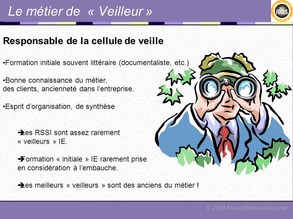 © 2005 bruno@kerouanton.net Le métier de « Veilleur » Responsable de la cellule de veille Formation initiale souvent littéraire (documentaliste, etc.)