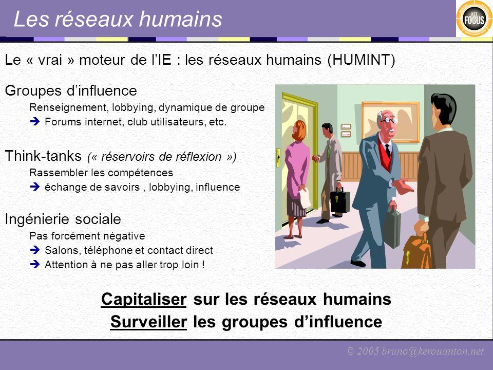 © 2005 bruno@kerouanton.net Les réseaux humains Le « vrai » moteur de lIE : les réseaux humains (HUMINT) Groupes dinfluence Renseignement, lobbying, d