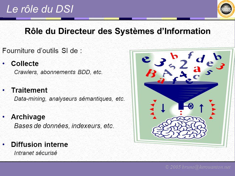 © 2005 bruno@kerouanton.net Le rôle du DSI Rôle du Directeur des Systèmes dInformation Fourniture doutils SI de : Collecte Crawlers, abonnements BDD,