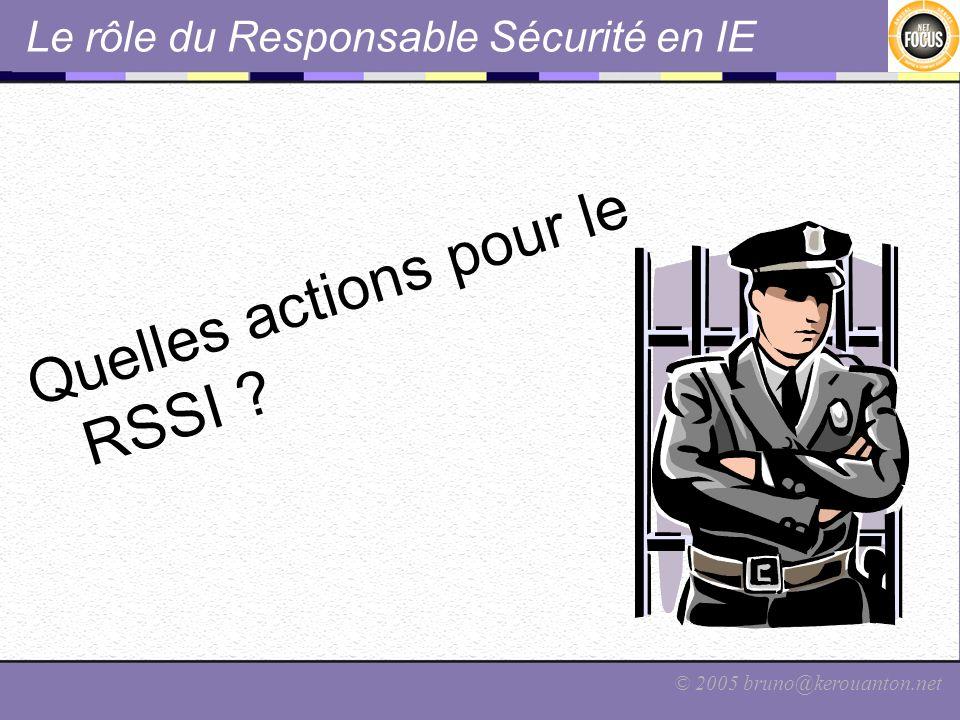 © 2005 bruno@kerouanton.net Le rôle du Responsable Sécurité en IE Quelles actions pour le RSSI ?