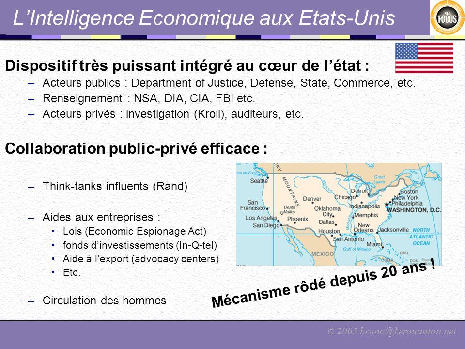 © 2005 bruno@kerouanton.net LIntelligence Economique aux Etats-Unis Dispositif très puissant intégré au cœur de létat : –Acteurs publics : Department