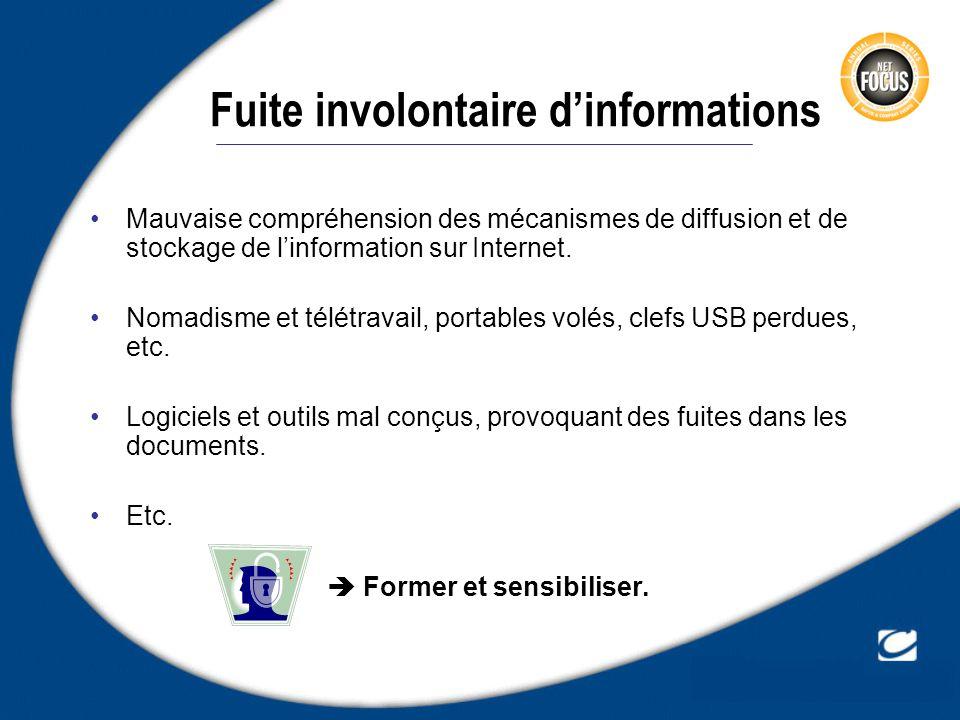 Fuite involontaire dinformations Mauvaise compréhension des mécanismes de diffusion et de stockage de linformation sur Internet. Nomadisme et télétrav
