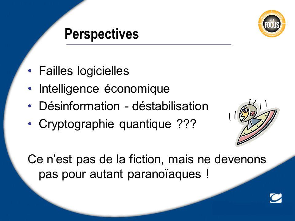 Perspectives Failles logicielles Intelligence économique Désinformation - déstabilisation Cryptographie quantique ??? Ce nest pas de la fiction, mais